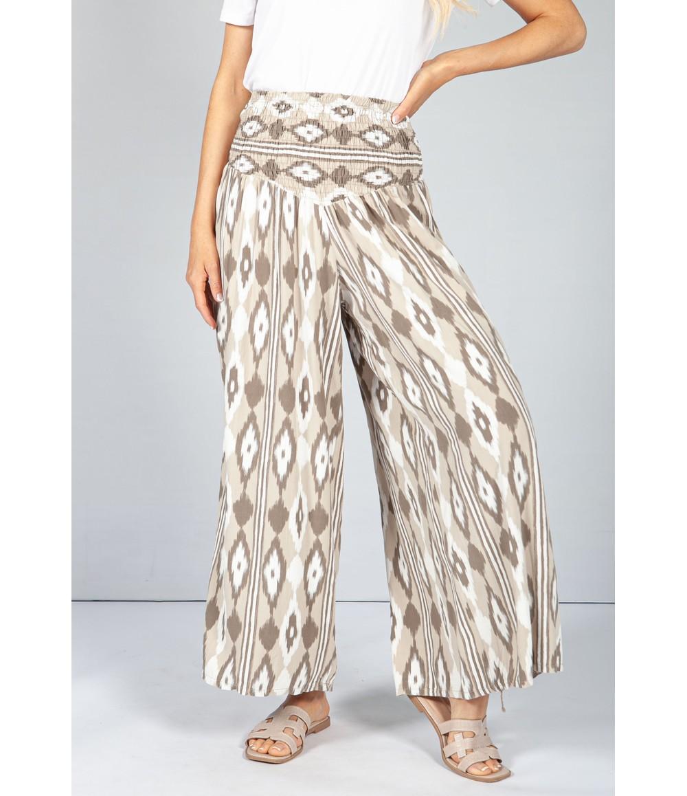 Pamela Scott Cappuccino Abstract Print Trousers