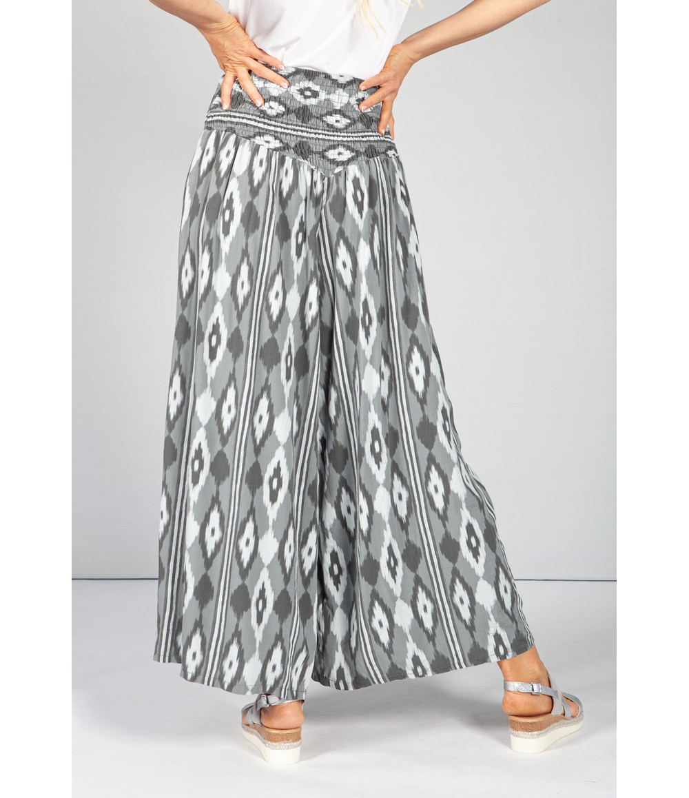 Pamela Scott Steel Grey Abstract Print Trousers