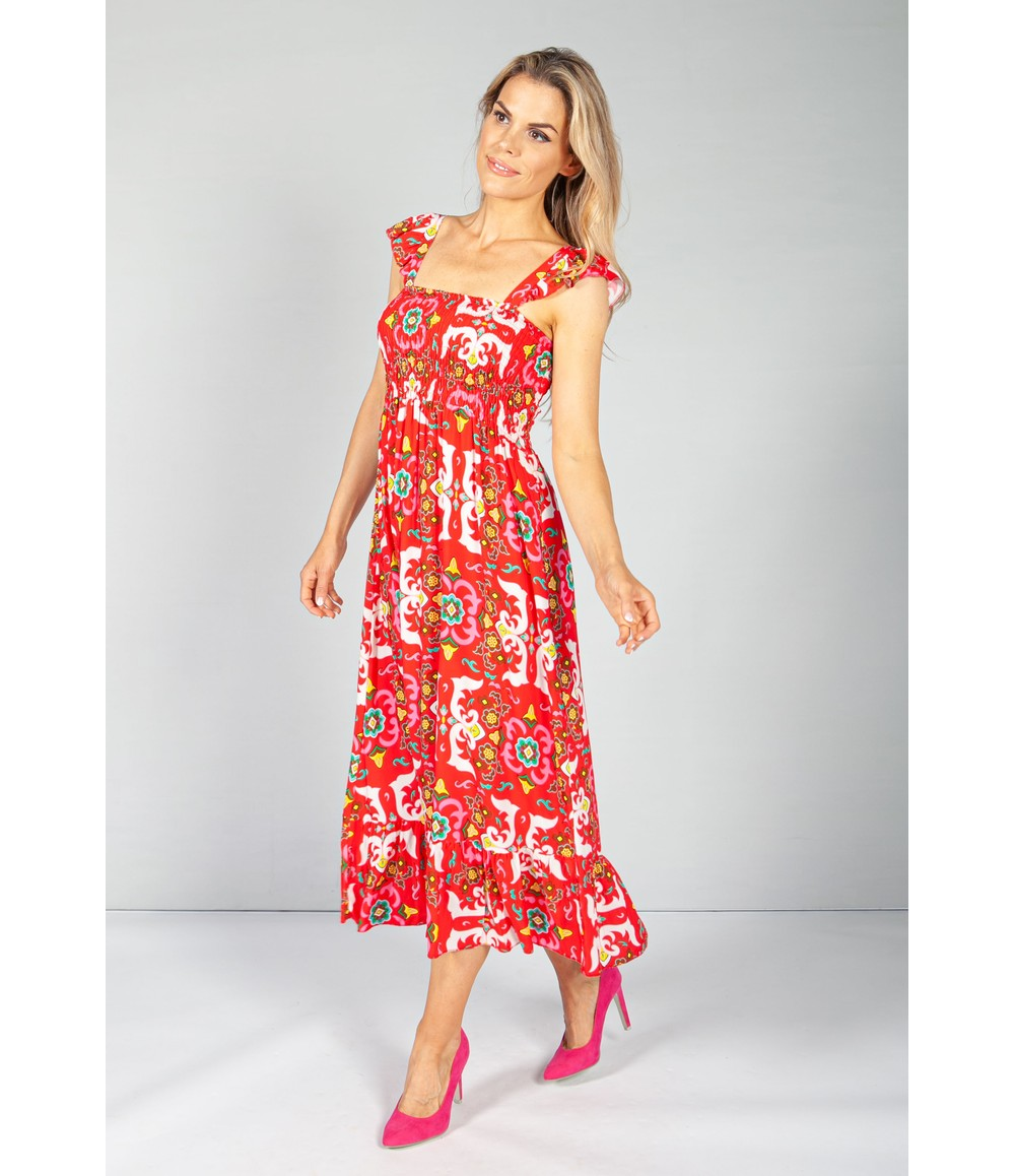 Pamela Scott Ruby Red Vintage Print Dress with Smocking Bodice