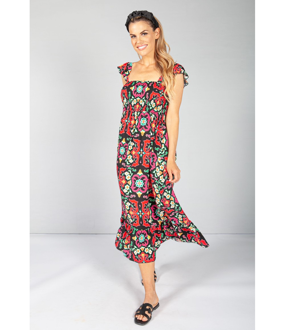 Pamela Scott Black Vintage Print Dress with Smocking Bodice