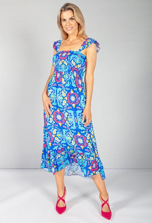 Pamela Scott Royal Blue Vintage Print Dress with Smocking Bodice