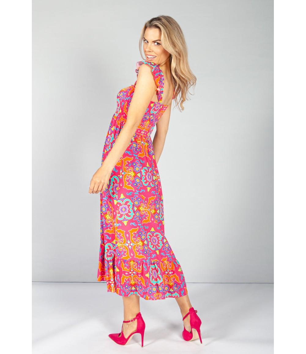 Pamela Scott Playful Pink Vintage Print Dress with Smocking Bodice