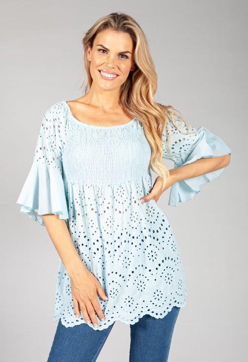 Pamela Scott Cool Blue Embroidered Peasant Blouse