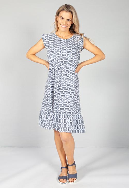 Pamela Scott Navy and White 70's Print Smock Dress