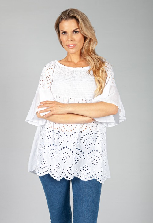 Pamela Scott White Embroidered Peasant Blouse