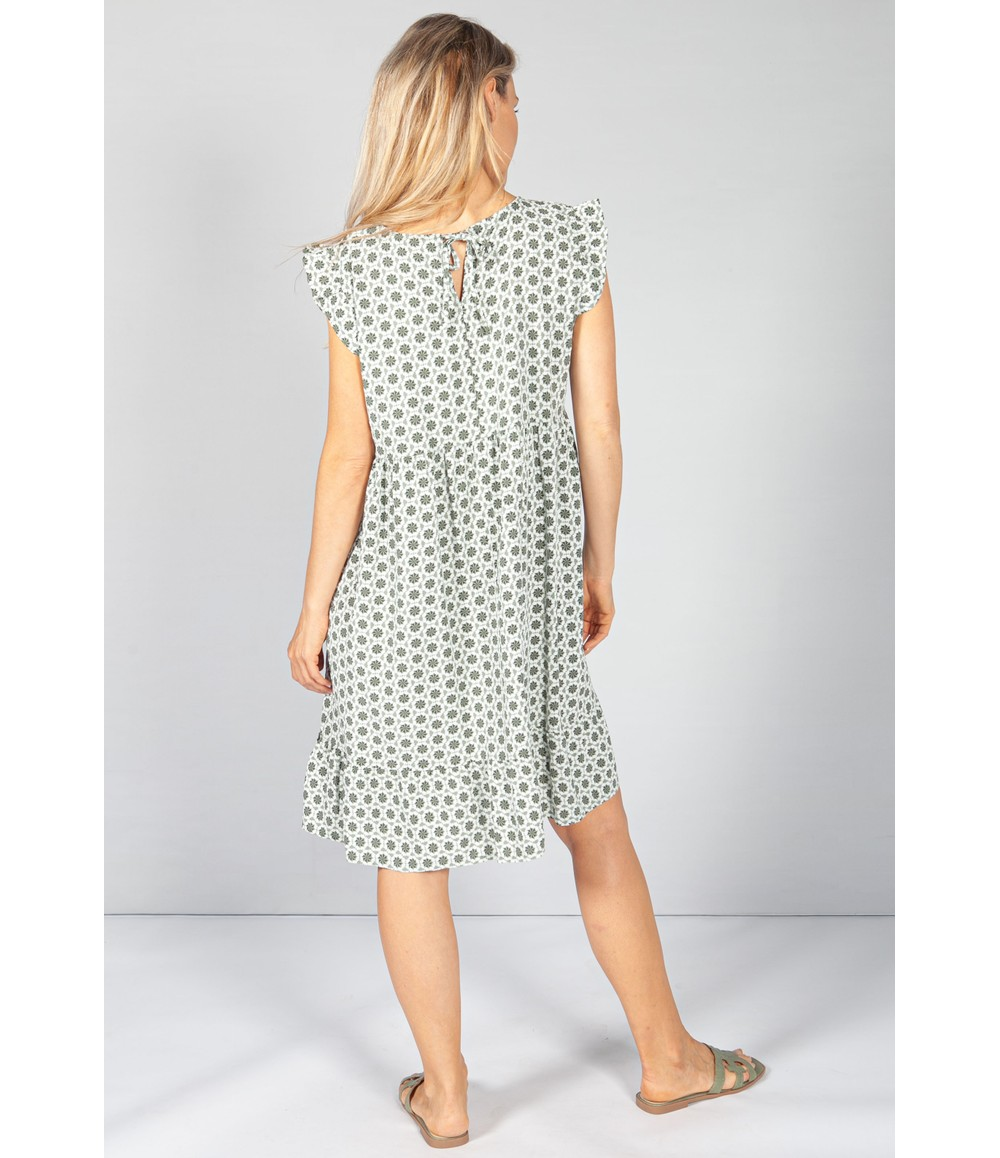 Pamela Scott Khaki 70's Print Smock Dress