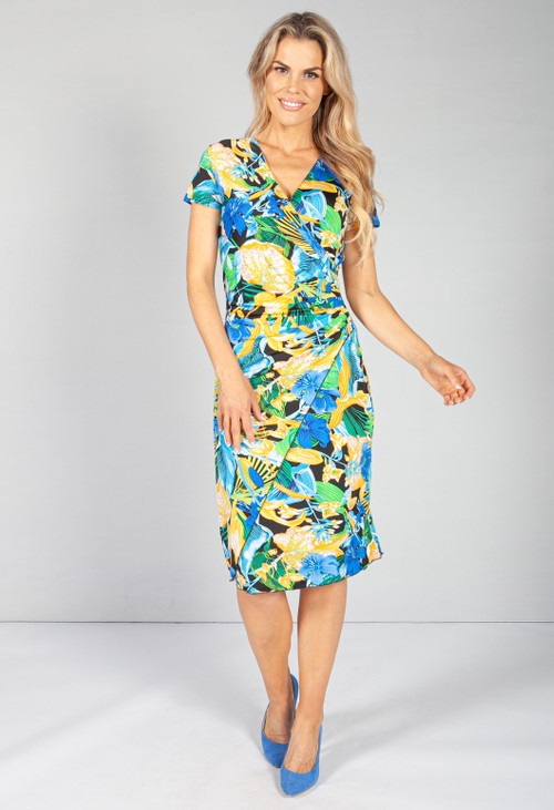 Zapara Ruched Waist Dress in Floral Yellow Print