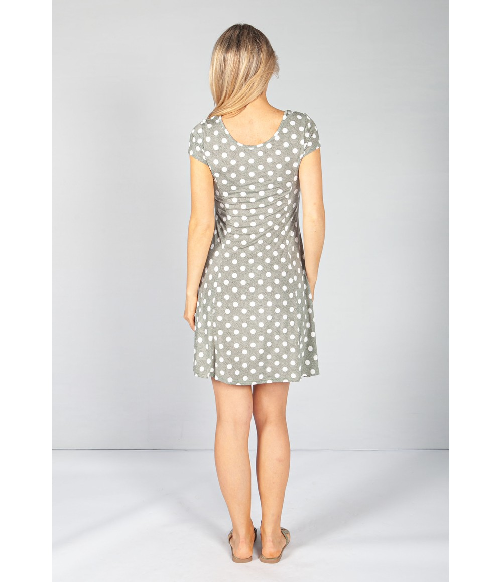 Zapara Light Khaki Polka Dot Dress