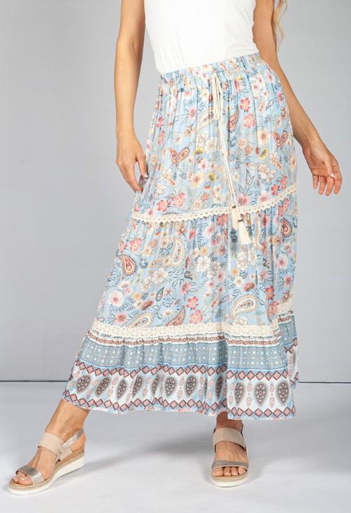 Pamela Scott Vintage Floral Skirt in Baby Blue