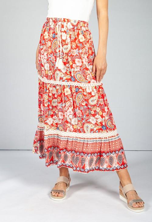 Pamela Scott Vintage Floral Skirt in Red