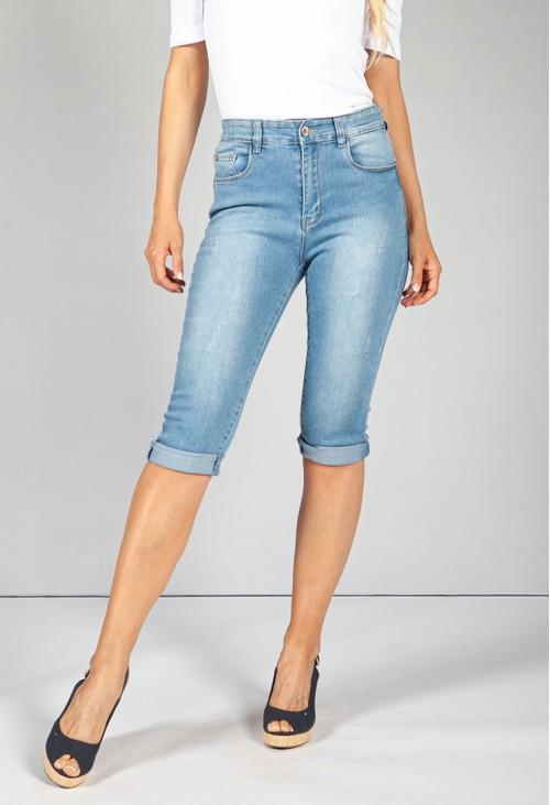Pamela Scott Light Distressed Crop Denim Jeans