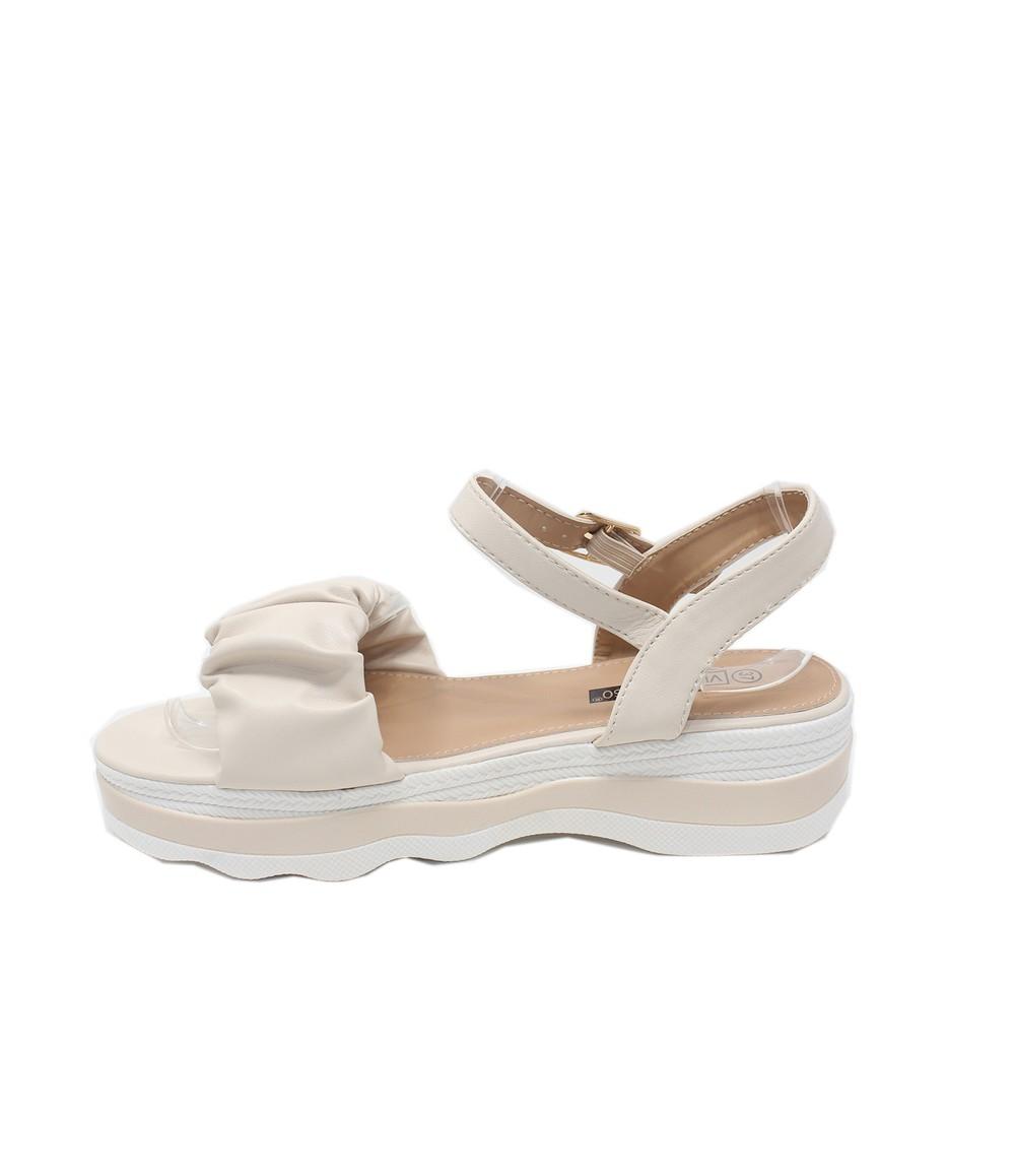 Shoe Lounge Beige Ruffle Strap Sandal