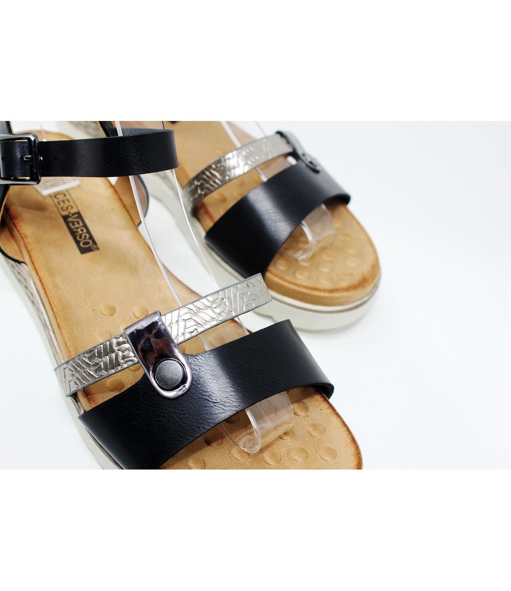 Shoe Lounge Black Metallic Strap Wedge Sandal