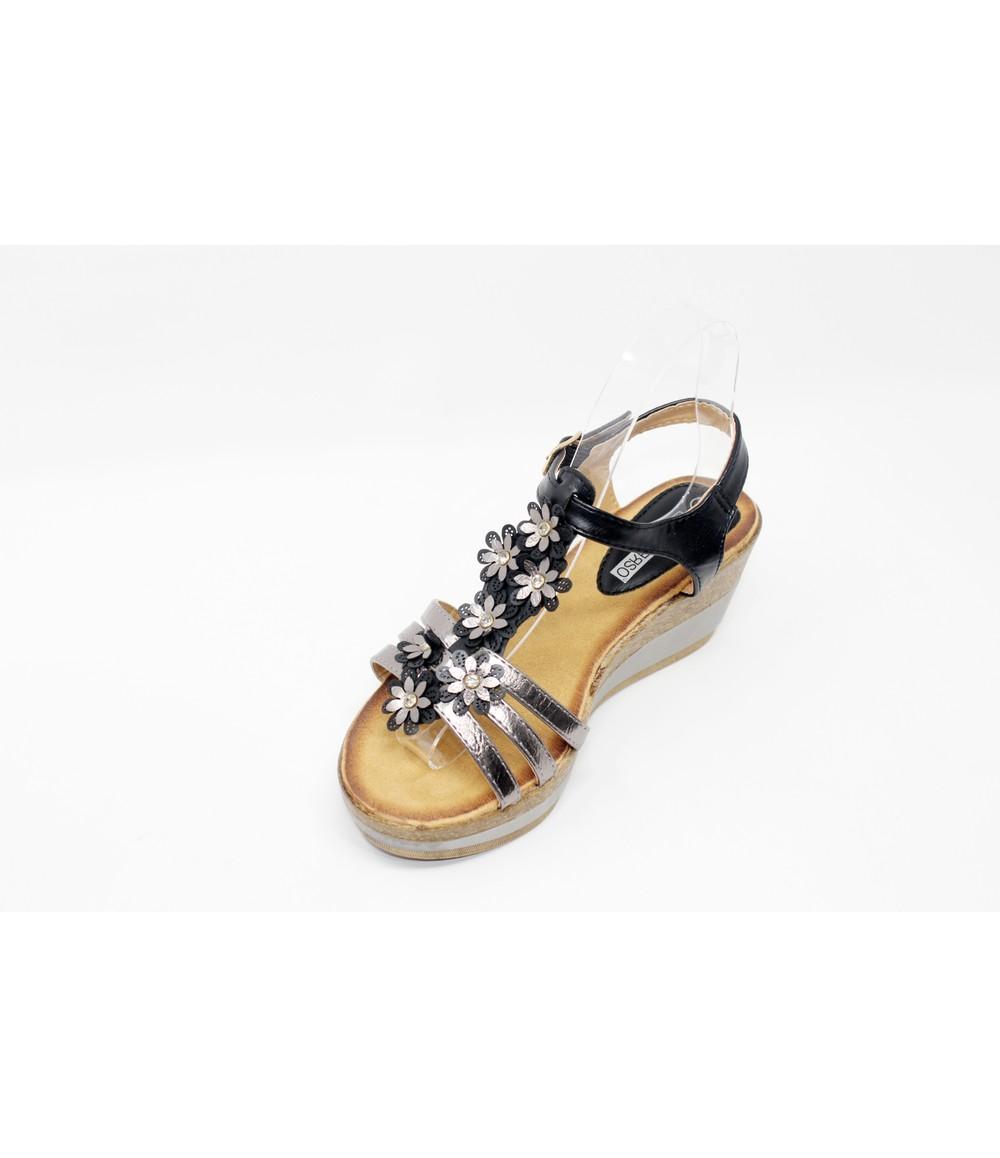 Shoe Lounge Floral Detail Black Wedge Sandal