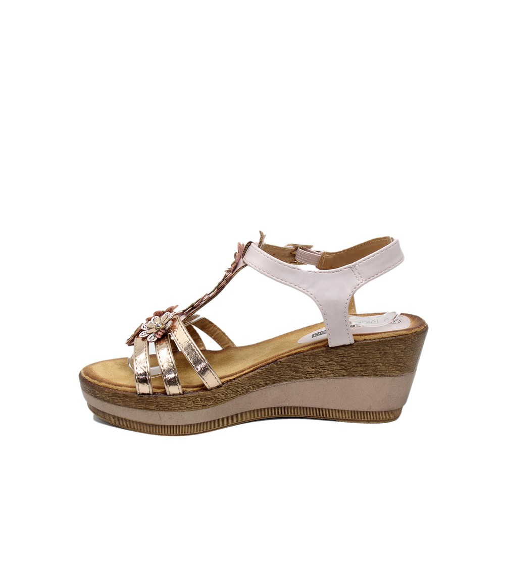 Shoe Lounge Floral Detail Champagne Wedge Sandal