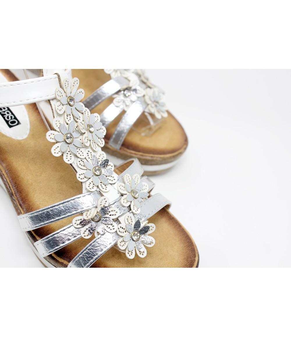 Shoe Lounge Floral Detail Silver Wedge Sandal