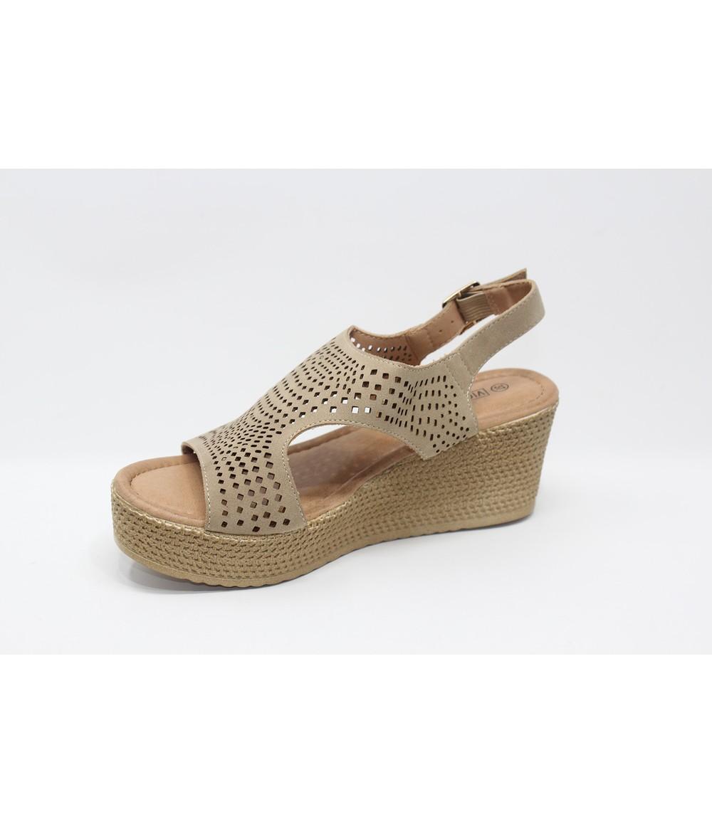 Shoe Lounge Warm Beige Sling Back Peep-Toe Sandal