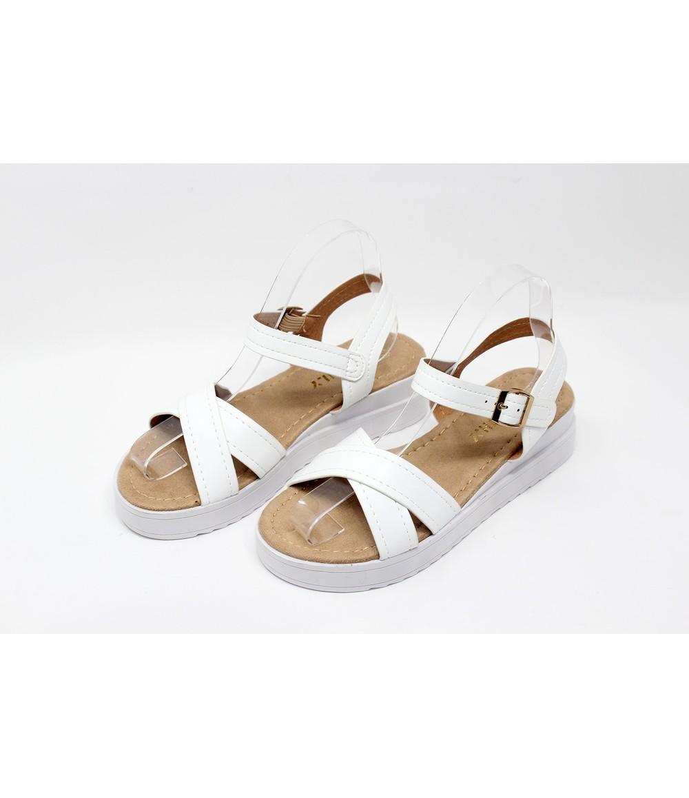 Shoe Lounge White Cross Strap Sandal