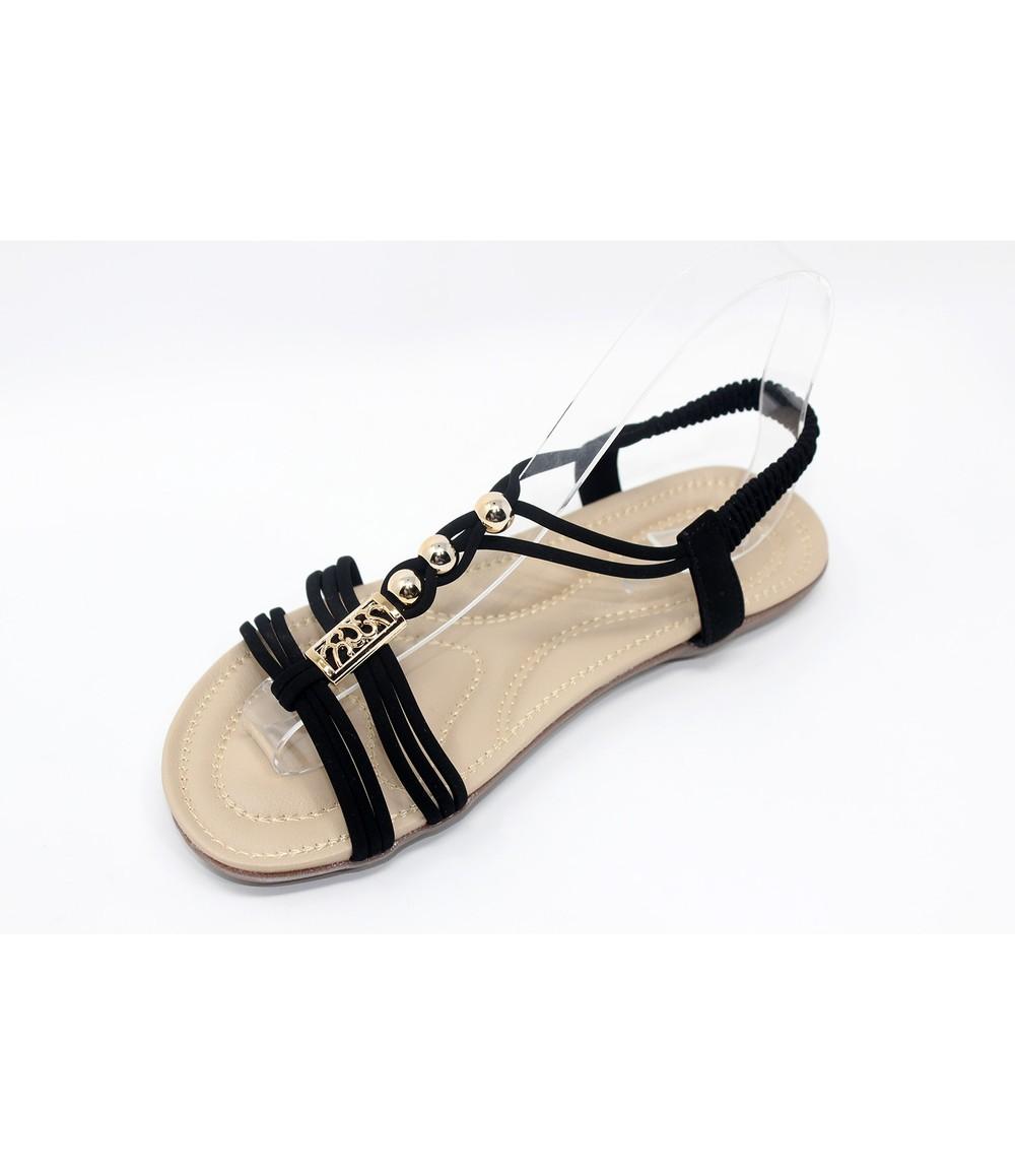 Shoe Lounge Black Strap sandal with Gold Beading