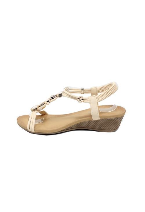 Shoe Lounge Glittered Detail Strap Wedge Sandal in Sand