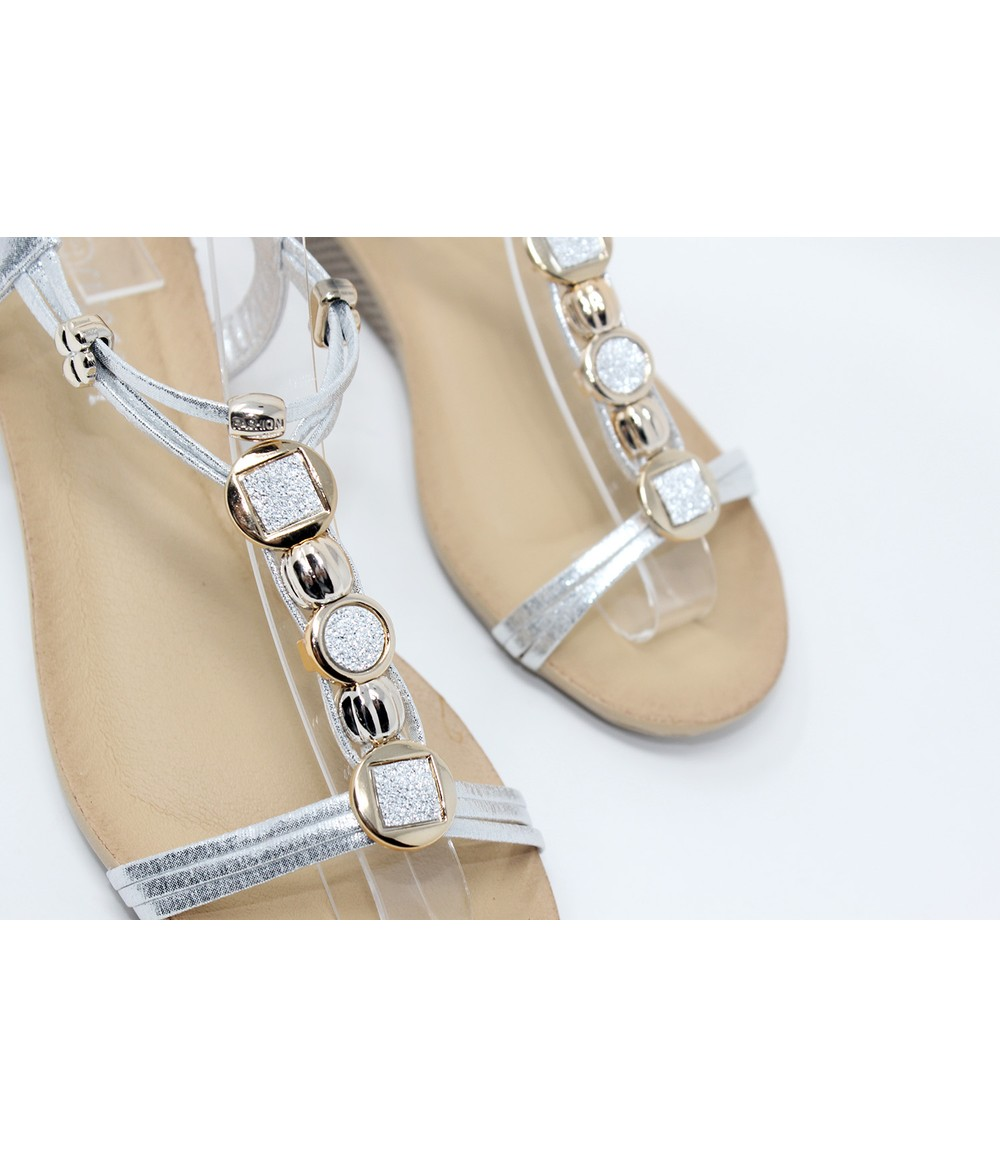 Shoe Lounge Glittered Detail Strap Wedge Sandal in Silver
