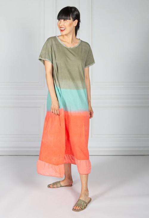 Sophie B Dip Dyed Cotton Dress in Khaki & Coral