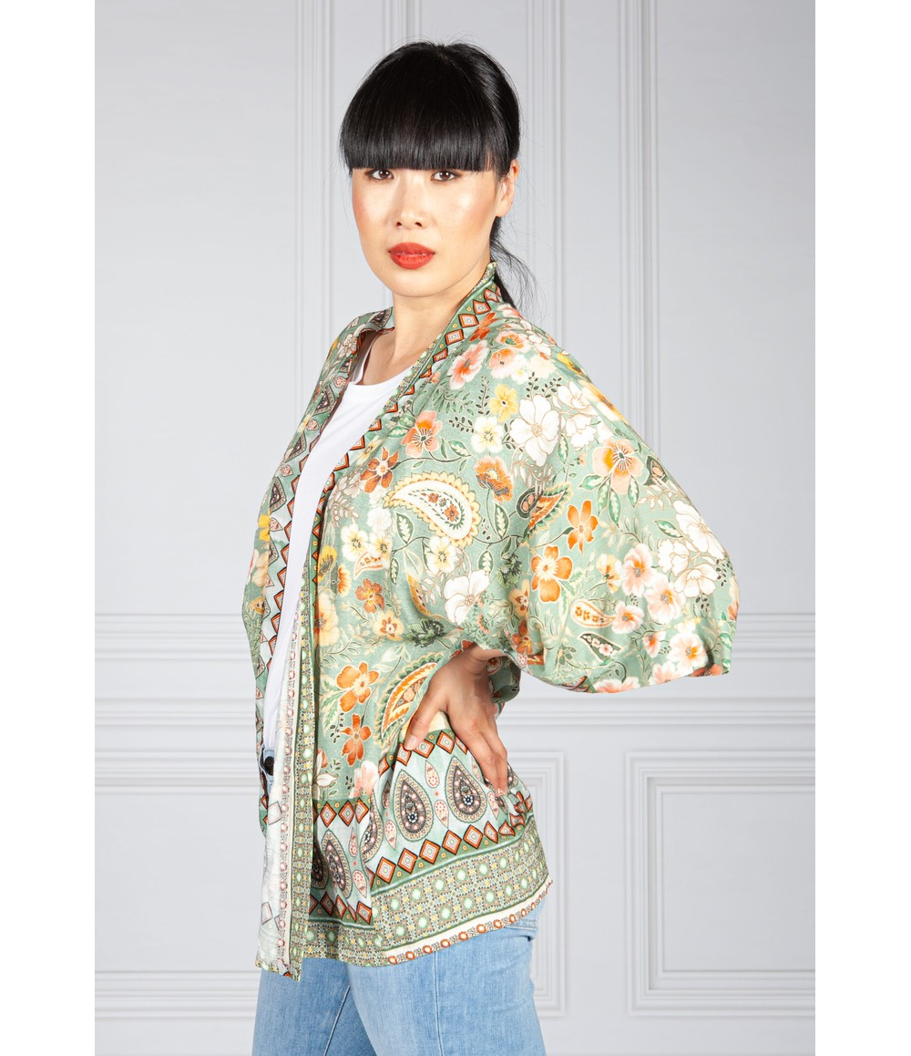 Vintage Floral Kimono Style Cardigan in Green