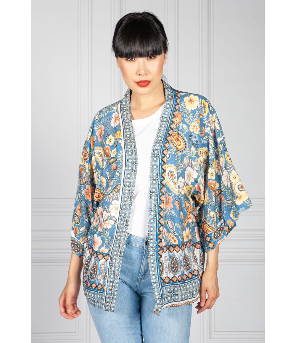 Pamela Scott Vintage Floral Kimono Style Cardigan in Blue