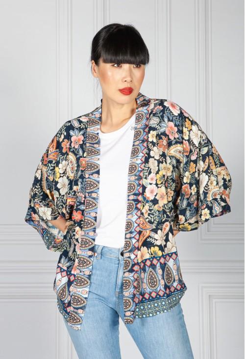 Pamela Scott Vintage Floral Kimono Style Cardigan in Navy