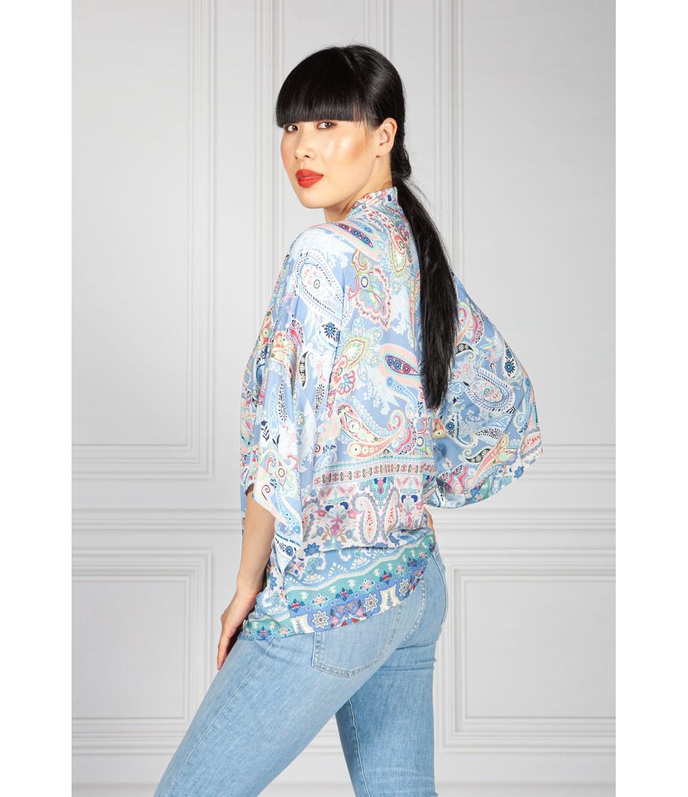 Pamela Scott Paisley Kimono Style Cardigan in Baby Blue