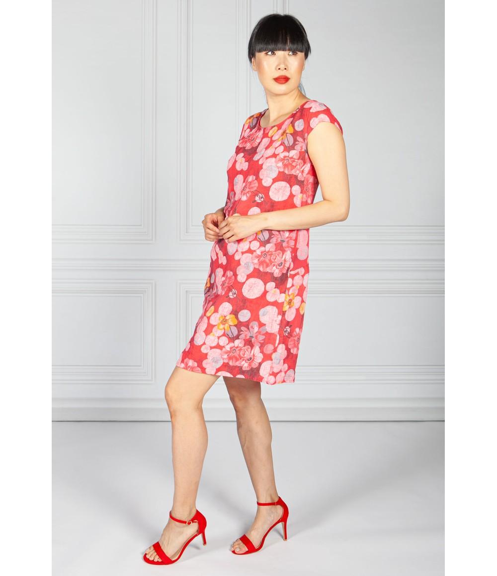 Pamela Scott Linen Dress in Red Floral