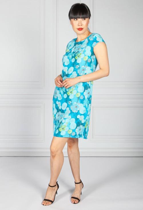 Pamela Scott Linen Dress in Blue Floral