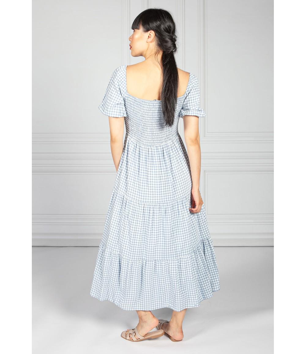 Pamela Scott Smocked Bodice Dress in Blue Gingham