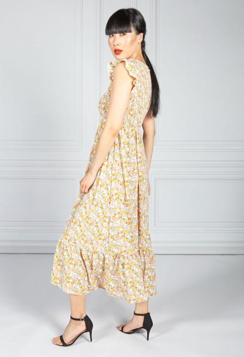 Pamela Scott Mini Bloom Smocking Bodice Dress is Summer Yellow