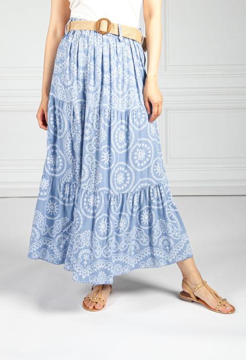 Pamela Scott Stitching Print Boho Skirt in Blue