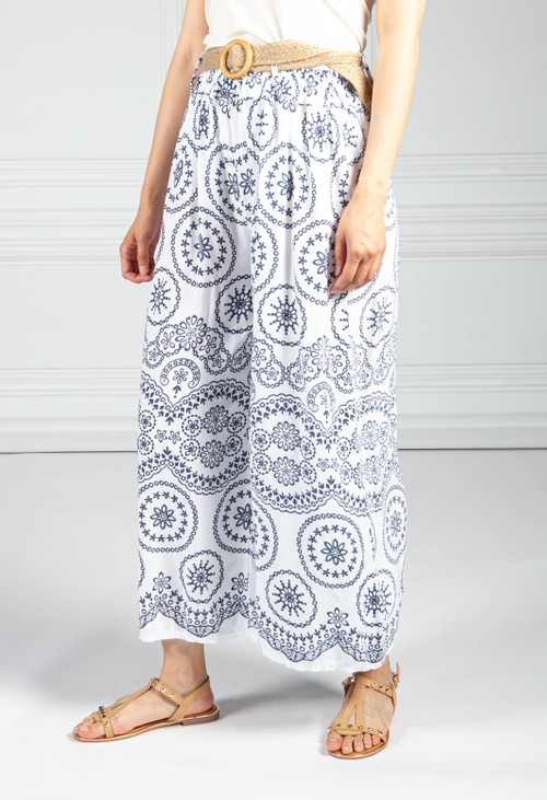 Pamela Scott Stitched Print Trousers in White and Navy