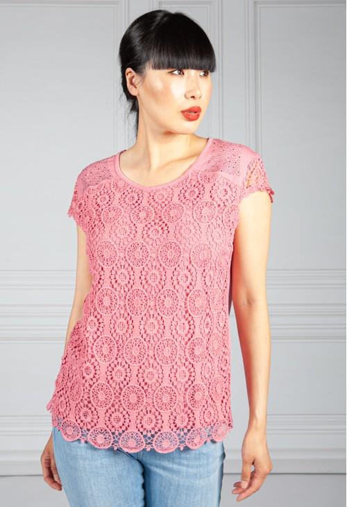 Pamela Scott Pink Diamante And Crochet Detail Top