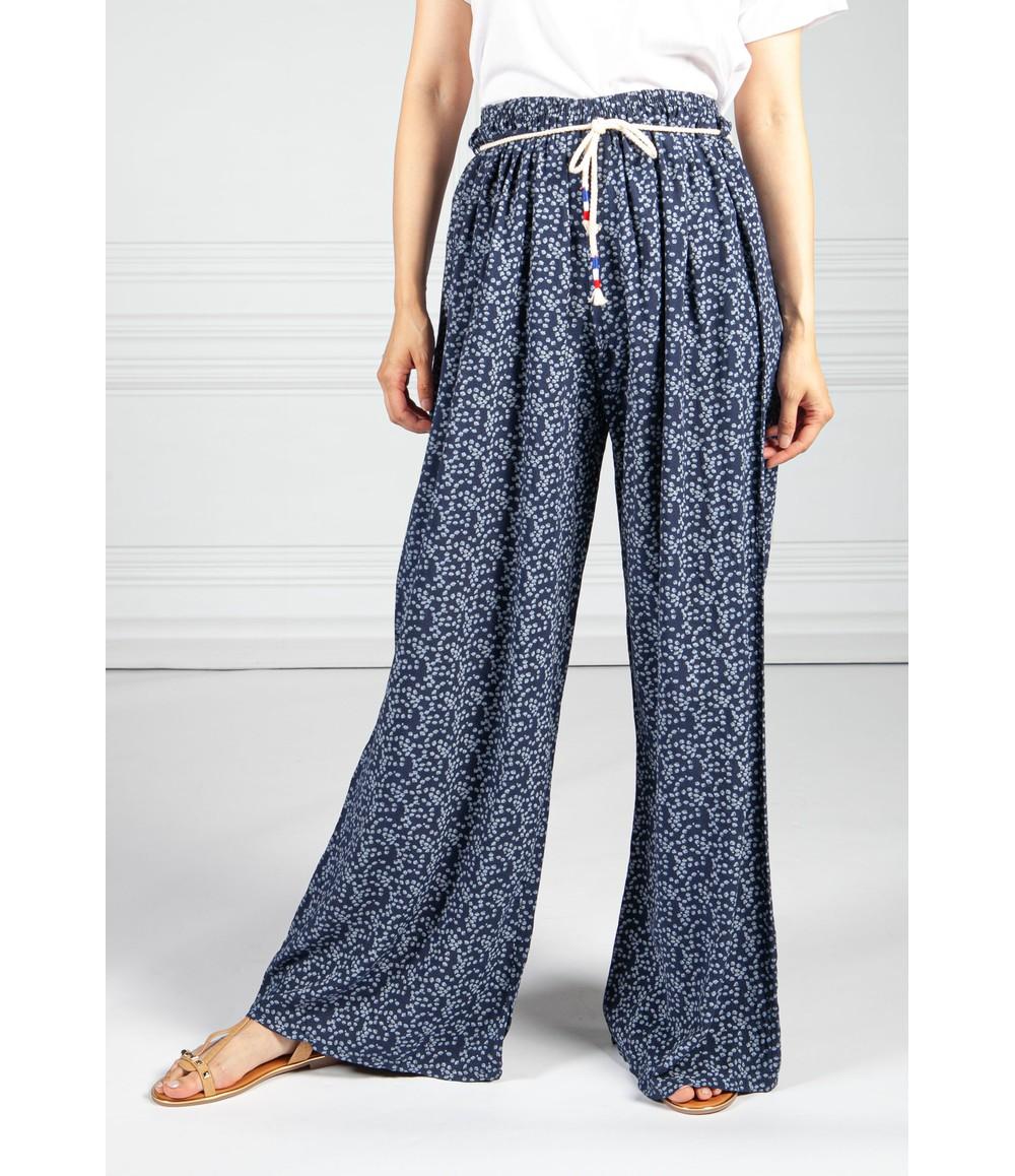 Pamela Scott Deep Navy Mini Bloom Wide Leg Trousers