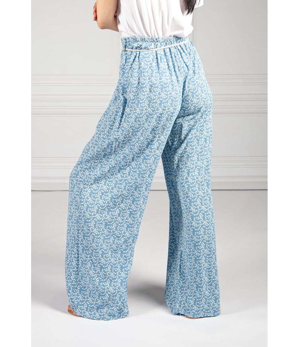 Pamela Scott Blue Mini Bloom Wide Leg Trousers