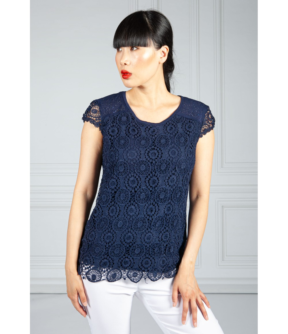 Pamela Scott Midnight Blue Embroidered Top