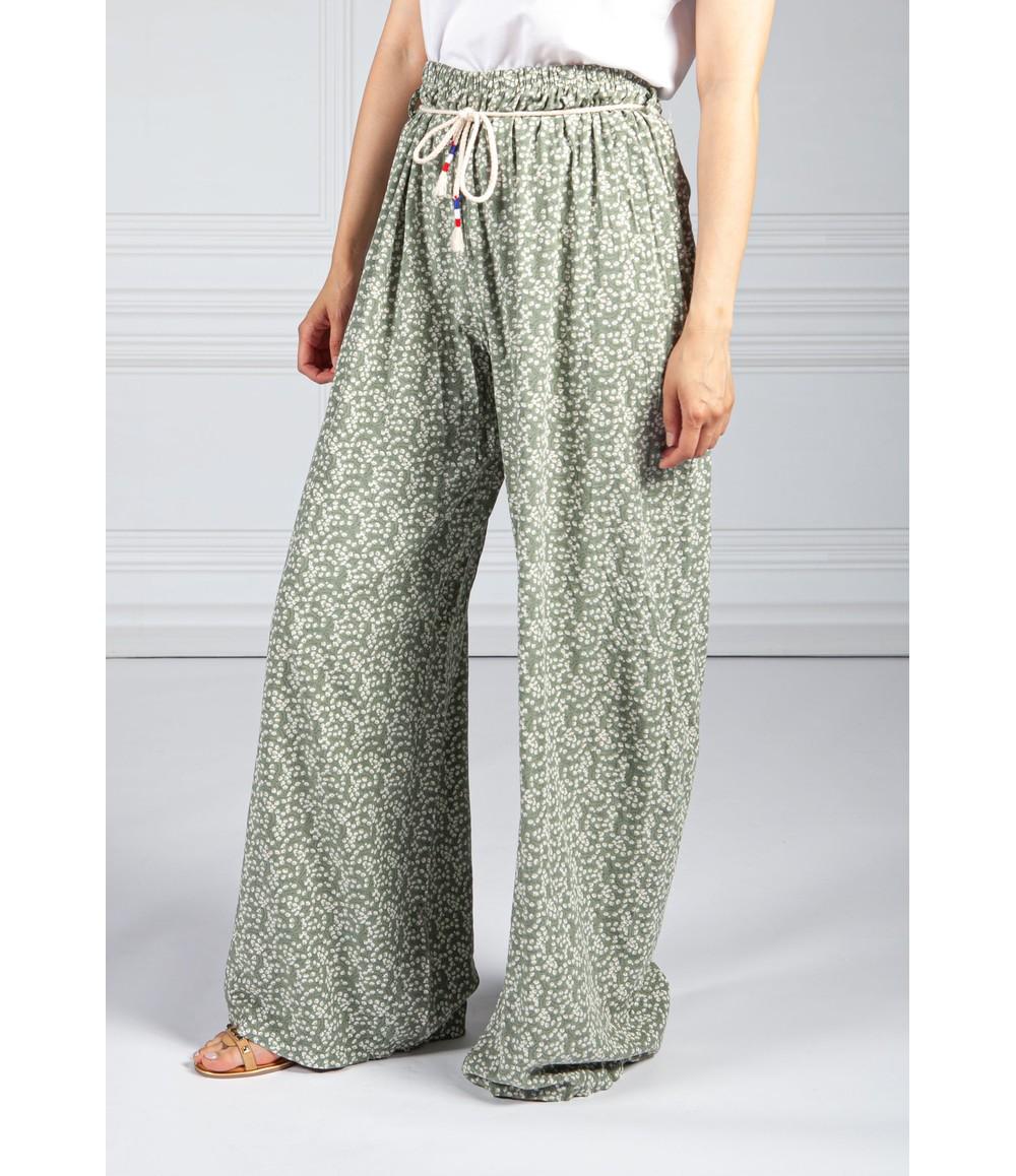 Pamela Scott Khaki Mini Bloom Wide Leg Trousers