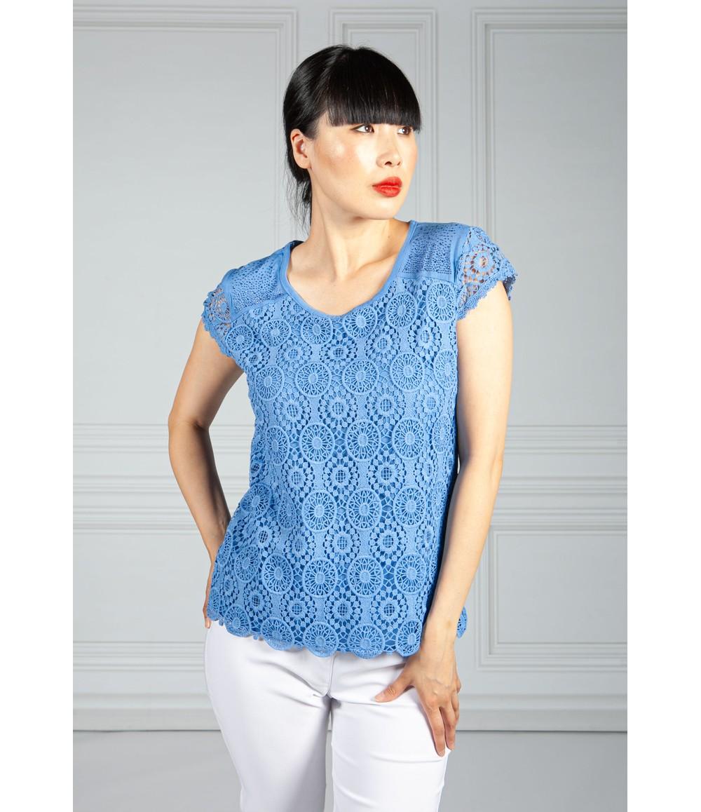 Pamela Scott Sky Blue Embroidered Top