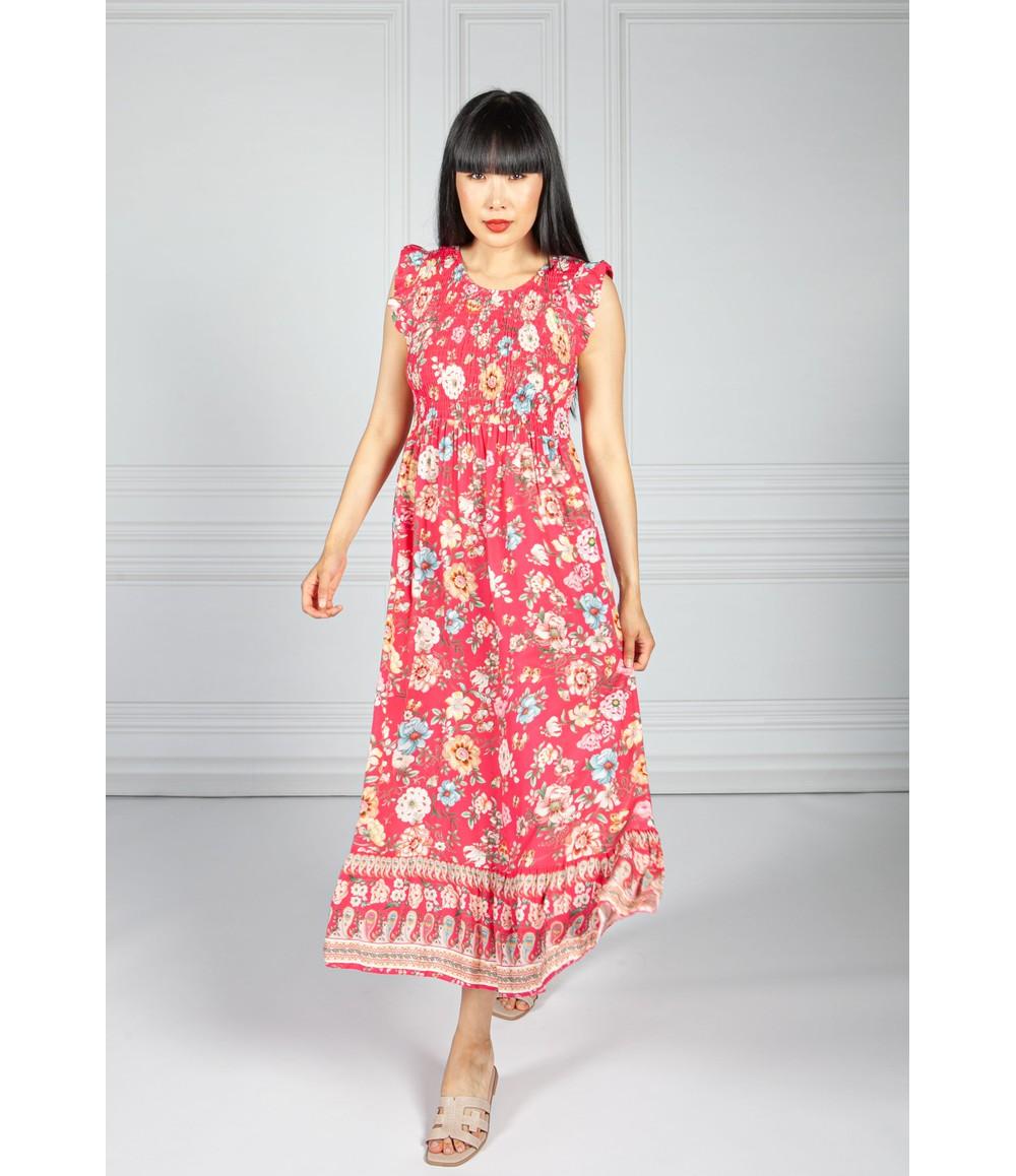 Pamela Scott Fuchsia Floral Smocking Bodice Dress