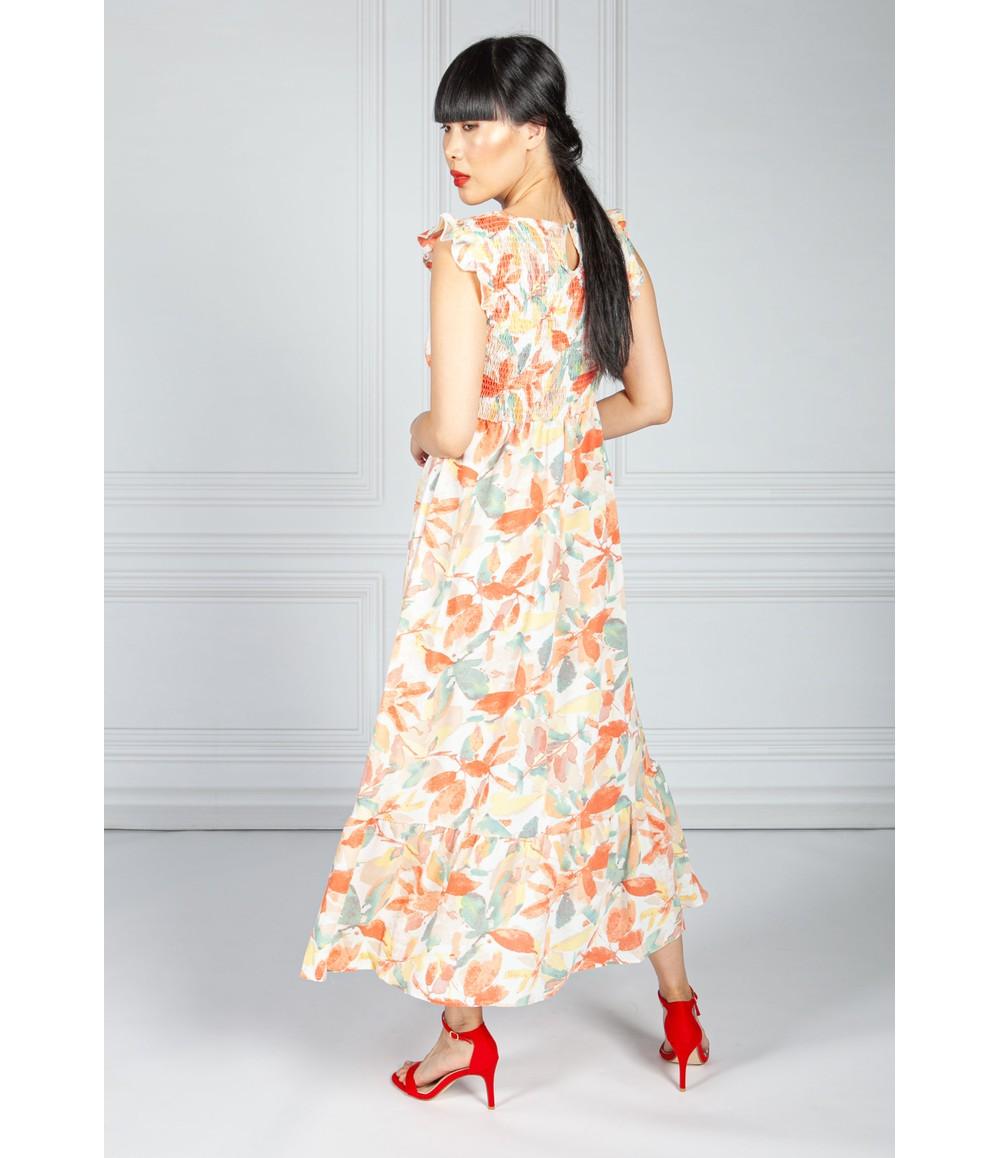 Pamela Scott Coral & Green Smocking Bodice Dress