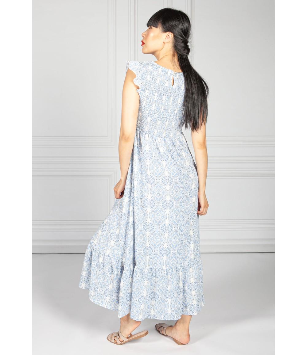 Pamela Scott Blue Paisley Smocking Bodice Dress