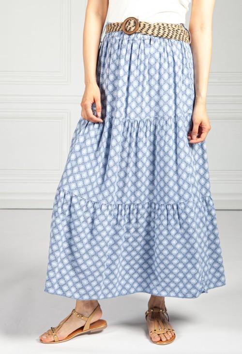 Pamela Scott Afternoon Sky Paisley Print Skirt