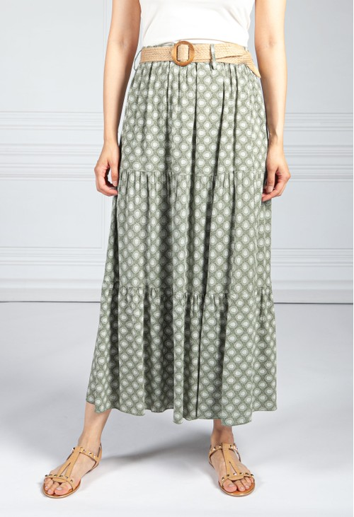 Pamela Scott Khaki Paisley Print Skirt with Belt