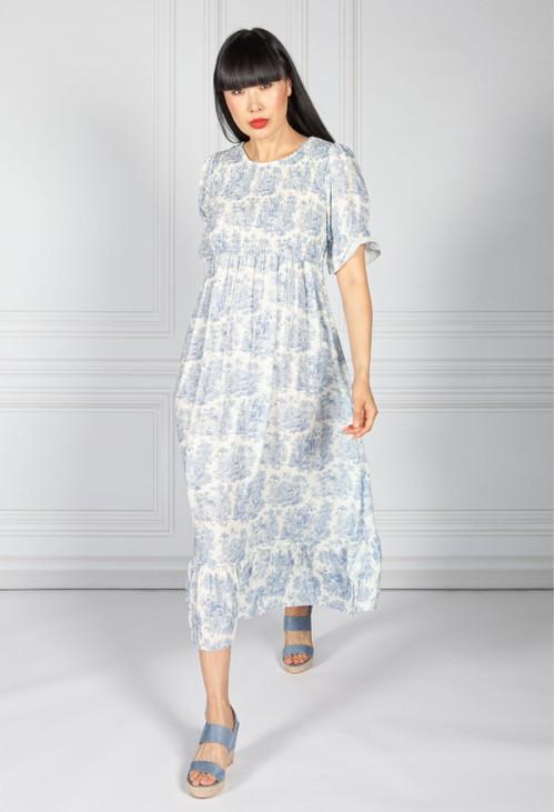 Pamela Scott Blue Delicate Print Dress Smocking Bodice