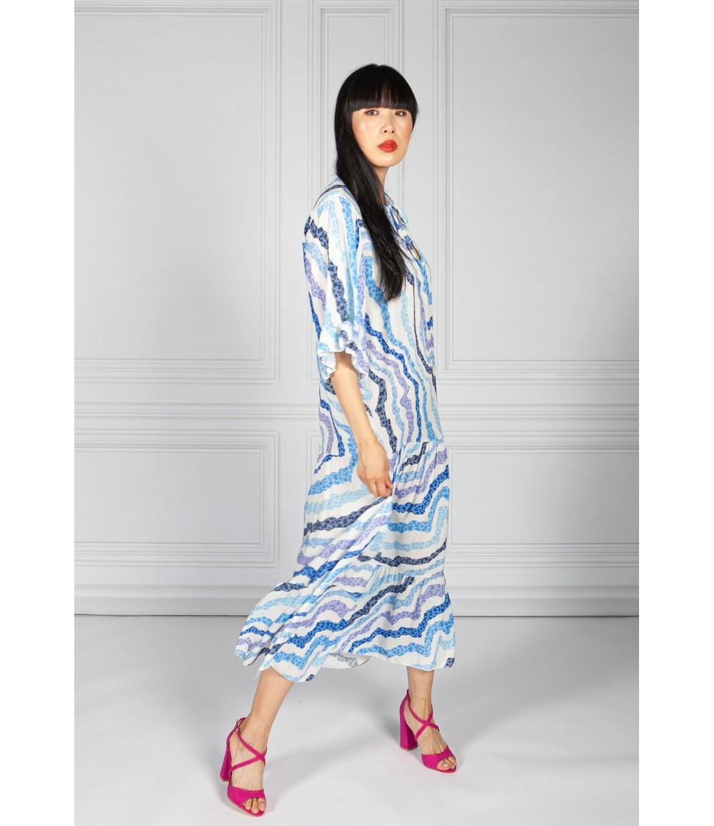 Pamela Scott Blue Animal Print Trapeze Dress
