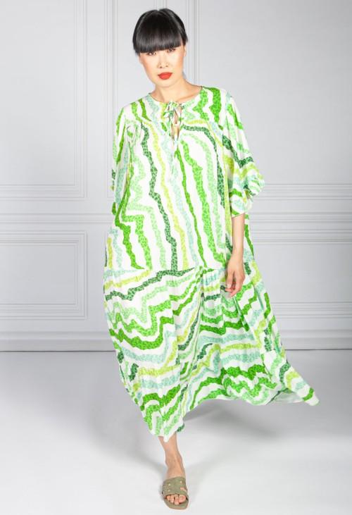 Pamela Scott Green Animal Print Trapeze Dress